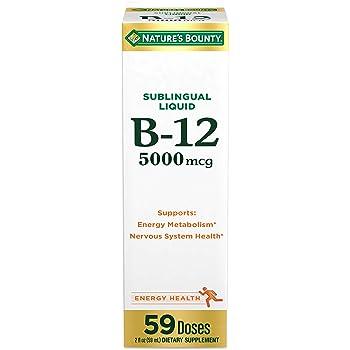 Nature's Bounty B-12 5000 mcg Sublingual Liquid Energy Health,2 Fl Oz (1 Count)