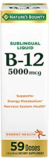 Nature's Bounty B-12 5000 mcg Sublingual Liquid Energy Health,2 Fl Oz (1 Count)