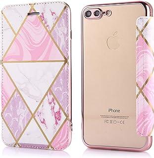 جراب جلد من EnjoyCase لهاتف iPhone 8 Plus/7 Plus 5. 5 بوصات، وردي [رخام برونزي] مصنوع من جلد البولي يوريثان في الأمام وطلا...