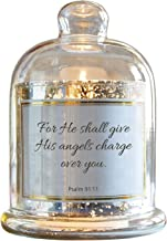 CB Gift Mercury Glass Cloche Dome Candle Holder, D3944, Glass Metal Plastic Wax, His Angles- Psalm 91:11, 5.5 x 7-Inches