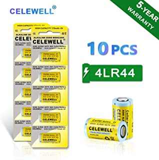 【5-Year Warranty】 CELEWELL 4LR44 6V Battery 170mAh High Capacity Same as 28A 4A76(10-Pack)