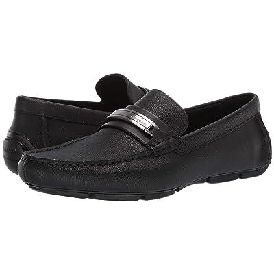 Calvin Klein Kolton (Black Hatched Embossed Leather) Men