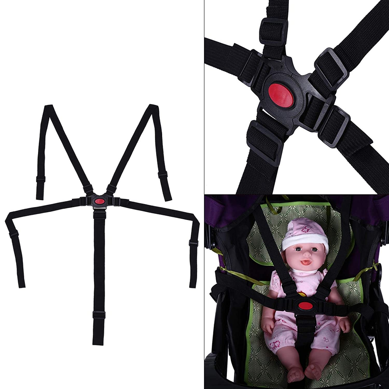 Universal Adjustable Baby Safety Strap,Baby Stroller Safety Strap,5 Point Safety Harness,for Baby Highchairs,Baby Stroller,Pushchair,Car Baby Seat,Baby Dining Chair