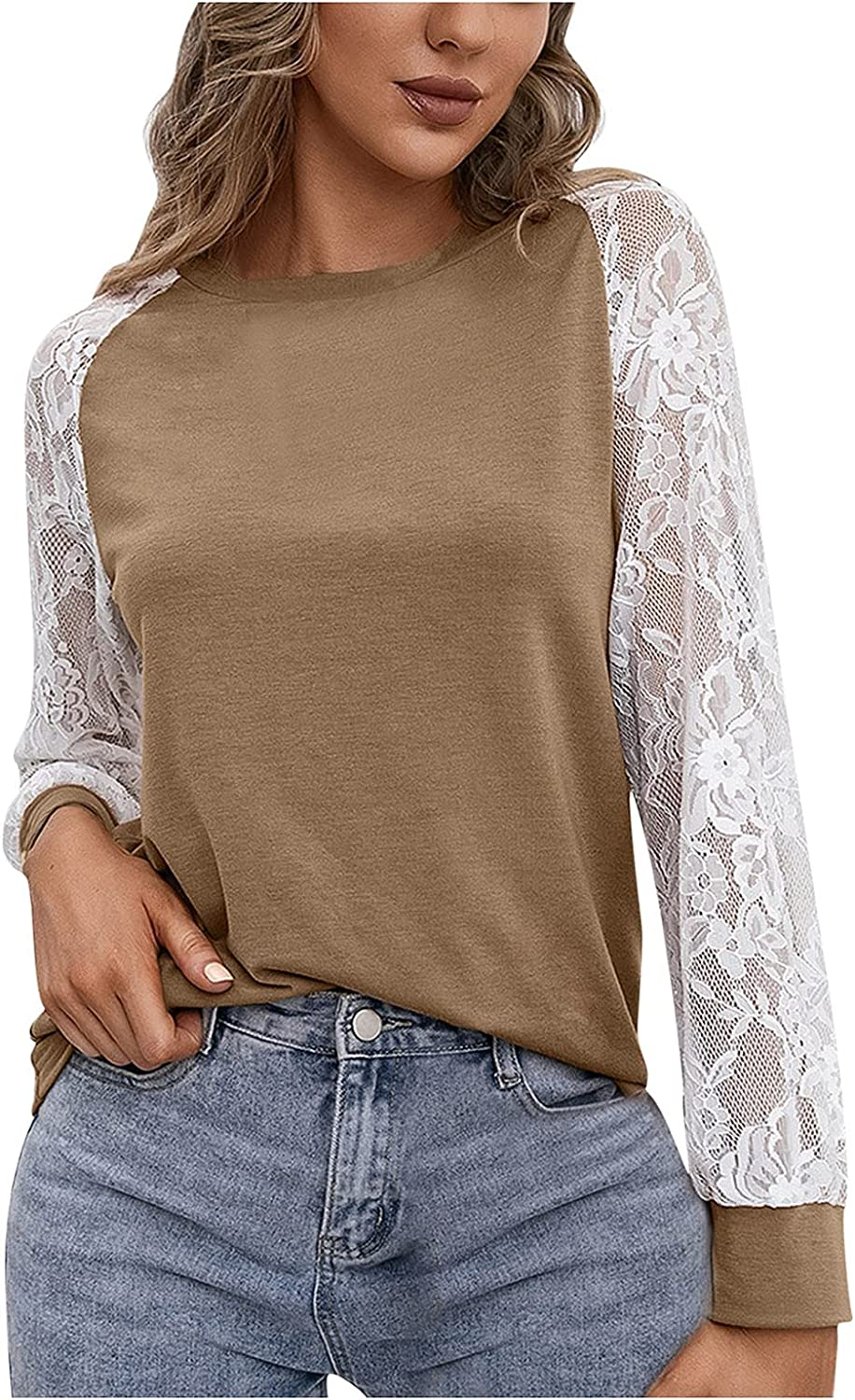 Women's Casual Color Block Lace Stitching Slim Max 69% OFF T Long- Shirt Fit Ranking TOP2