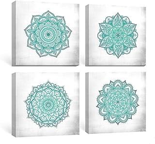 SUMGAR Impresiones en Lienzo Verde Azulado Mandala Mural Wall Art Boho Ilustraciones Turquesa Flower Impresiones en Lienzo Cuadros Florales Indios para Dormitorio baño Sala de Estar 30x30cmx4 Piezas