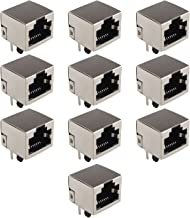 10 Conectores de Red de PCB con Conector Jack RJ45 8P8C, acopladores Ethernet de 180 Grados