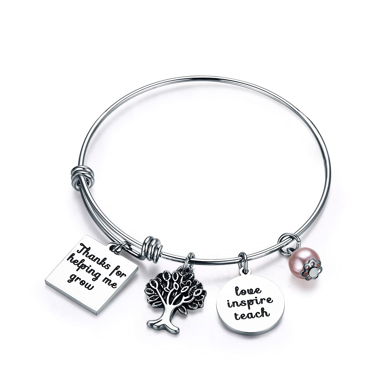 Udobuy Teacher Bangle Bracelet-Teacher Gift, Show Your Teacher Appreciation Thank You Gifts for Teachers