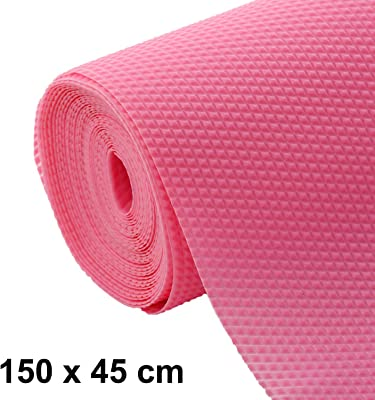Heart Home Multipurpose Diamond Textured Super Strong Anti-Slip Mat Liner, Size 45X150 cm (1.50 Meter Roll, Pink) HEART235