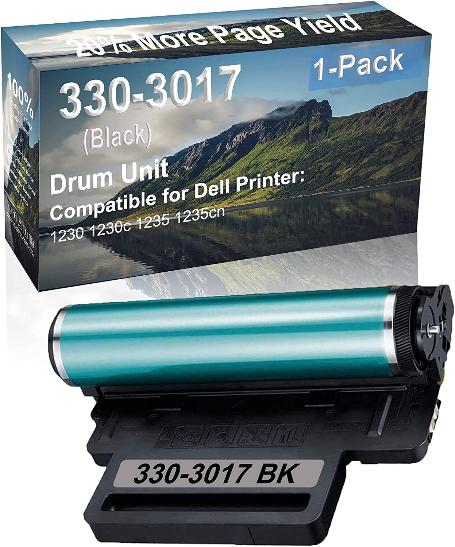 1-Pack (Black) Compatible 1230 1230c 1235 1235cn Printer Drum Unit Replacement for Dell 330-3017 Drum Kit