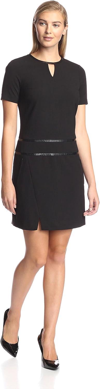 Marc New York Women's Cap Sleeve Keyhole Dress, Black, 8 US