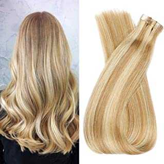 Tape In Human Hair Extensions 20Inch 40pcs 100g/pack Silk Straight Remy Human Hair Extensions Skin Weft Strong Invisible Tape In Hair Extensions (12/613#,20Inch)
