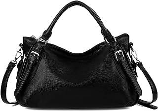 YALUXE Women's Soft Real Leather Handbag (Upgraded 2.0) Black