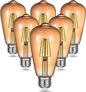 MLlichten E27 Edison Bombilla Vintage 4W, Blanco Cálido 2700K Bombillas LED Filamento E27, Equivalente Incandescente de 30W 40W, No Regulable E27 Bombillas LED Vintage AC220-240V, Paquete de 6