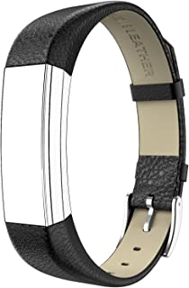 for Fitbit Alta HR and Alta Bands Leather, Swees Genuine Leather Band with Buckle Replacement Wristband Small & Large for Fitbit Alta HR and Alta, Silver, Red, Gold, Black, Brown, Pink, Grey