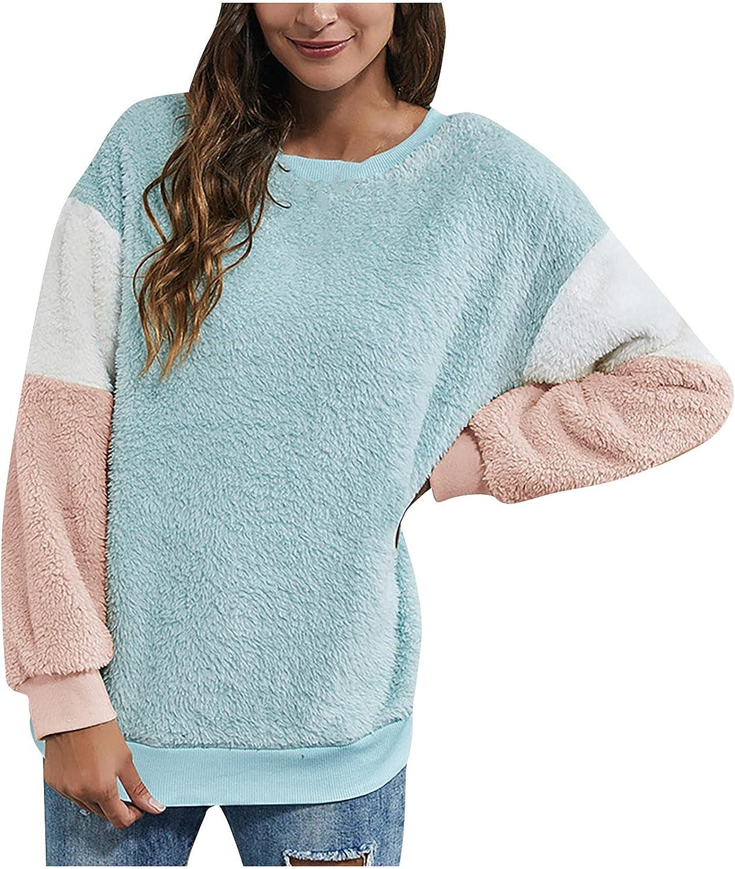 Women Sherpa Pullover Long Sleeve Fluffy Soft Fleece Jackets Sweaters Sweatshirts Hoodies Outwear Coat Color Block