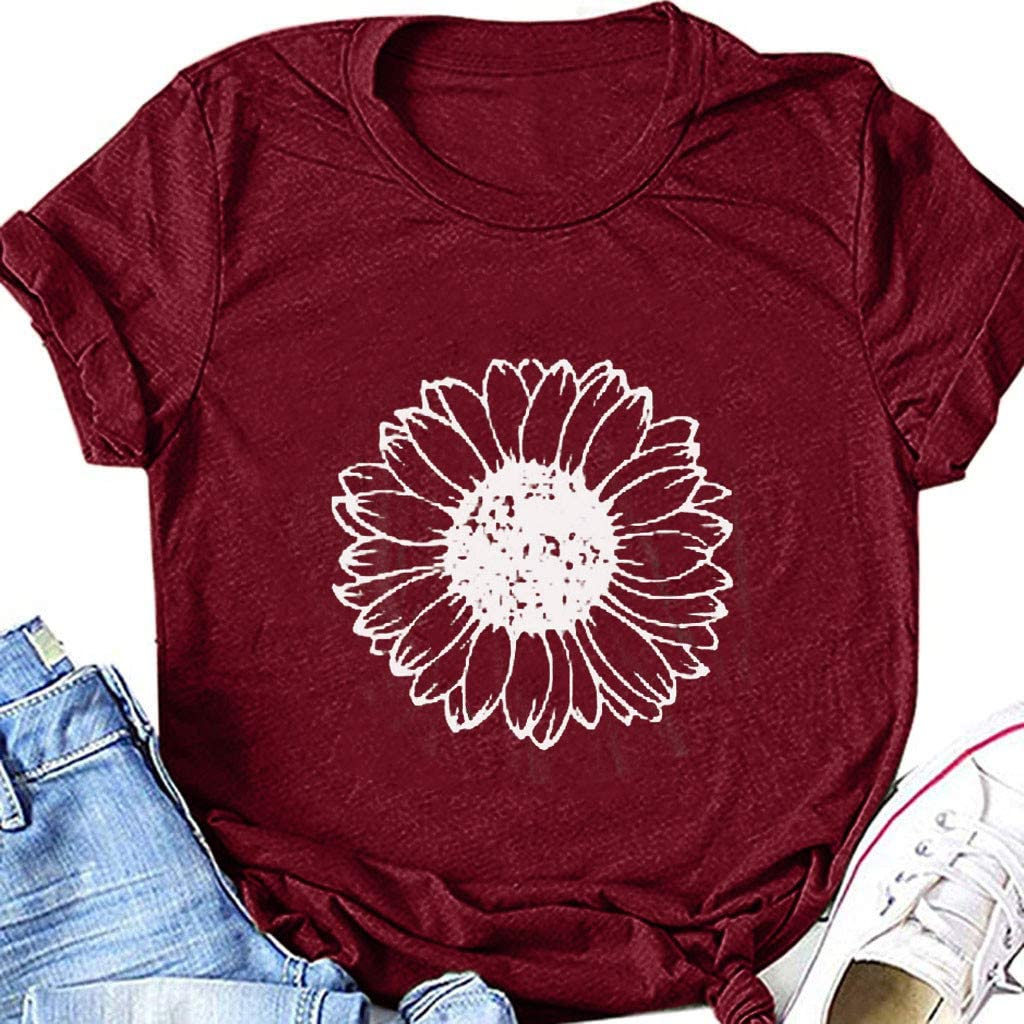 Masbird Women Tops Summer Casual Short Sleeve Graphic Tees Workout Shirts Sunflower Blouses Loose Fit Tshirts