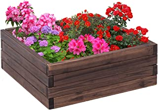 Giantex Square Raised Garden Bed Wood Outdoor Patio Vegetable Flower Rectangular Planter 24''Lx24''Wx10''H, Brown