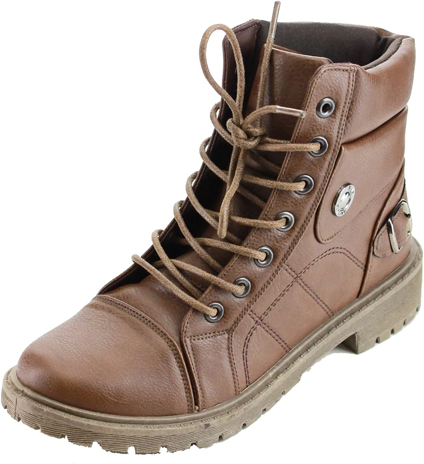 Refresh Footwear Women's Lace Up Rubber Sole Combat Boot