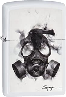 Zippo Unisex Spazuk Gas Mask Regular Windproof Lighter, White Matte, One Size