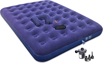 Bedped Gift Queen Air Mattress with Electric Pump - Best Portable Blow Up Mattress for Camping to Gifting Eye Mask, Pillow, Ear Plugs - Double Size Inflatable Air Bed with Repair Patches