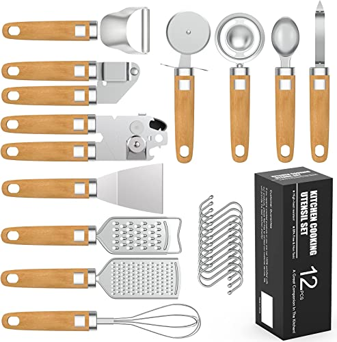 2021 Kitchen Gadget outlet online sale Set, Umite Chef 12 Pieces Stainless Steel Utensils with Soft Touch Wooden Handle, Kitchenware online sale Kitchen Peeler Set Tool, Kitchen Gadgets Tools Set online