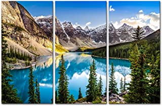 3 Pieces Modern Canvas Painting Wall Art For Home Decoration Morain Lake And Mountain Range Alberta Canada Landscape Mountain&Lake Print On Canvas Giclee Artwork For Wall Decor