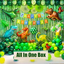 Dinosaur Birthday Party Decoration Set, 92 Pcs Set With Dinosaur Themed Party Favors Include Dinosaurs Balloons, Happy Bir...