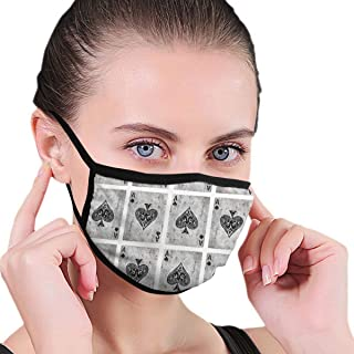 Mouth Mask Earloop Mouth Masks Fashion Polyester Breathable Mask - Vintage Ace of Spades Card Poker Lover Adjustable Elastic Band Windproof Face and Nose Cover, Reusable & Washable