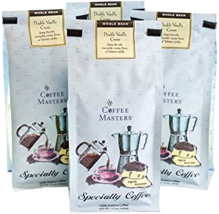 Coffee Masters Flavored Coffee, Double Vanilla Creme, Whole Bean, 12-Ounce Bags (Pack of 4)