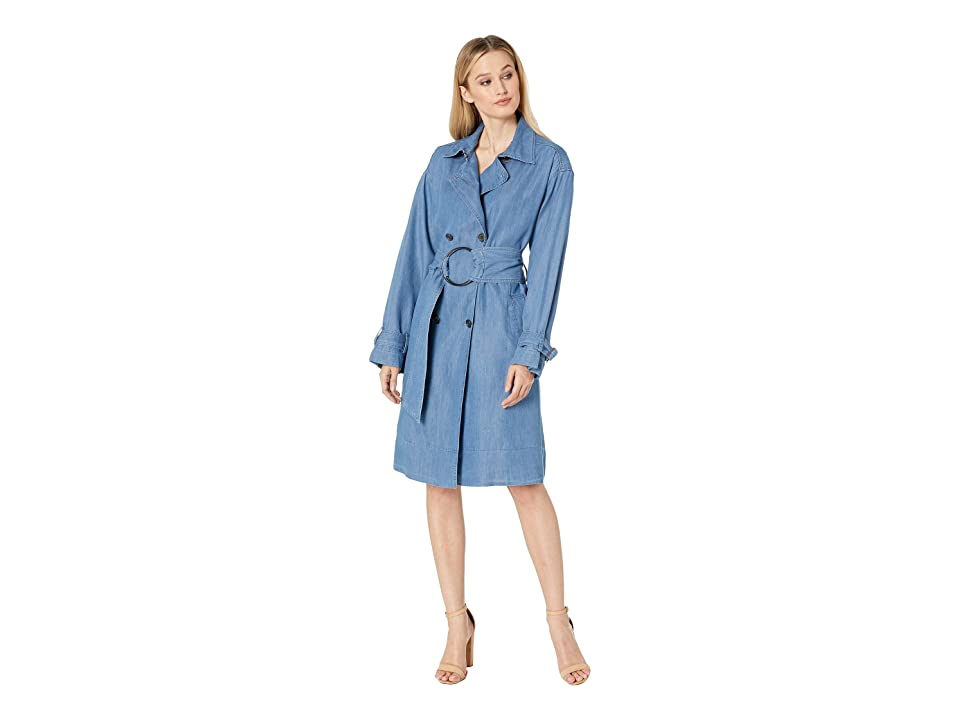 Kenneth Cole New York Chambray Trench Coat (Chambray Light Blue) Women