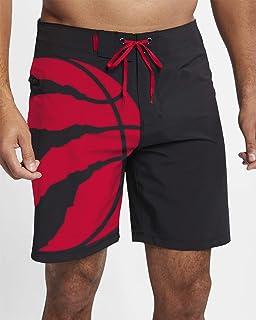 Small Toronto Raptors Mens Black and Red Swim Shorts
