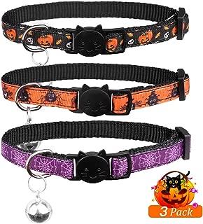 3PCS Collares para gatos de Halloween con campana Nylon suave seguro y ajustable para gatito