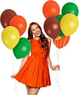 Fall Color Balloons Forest Green Mocha Brown Yellow Orange Balloons 12 Inch Jungle Party Decorations for Woodland Lion Safari Wild One Birthday Decor Animal Dinosaur Baby Shower Garland Supplies