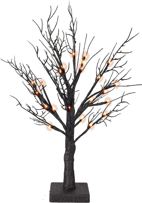 Lighted Orange Halloween Tree