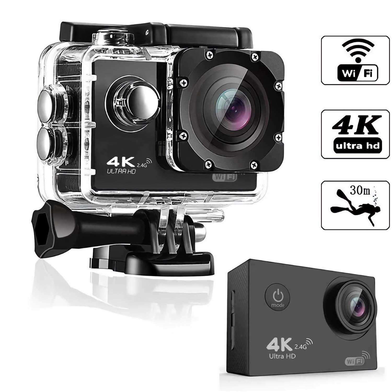 OnReal Cámara de acción 4K, cámara Deportiva con Pantalla WiFi Ultra HD de 2 , cámara Deportiva