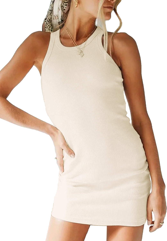 MISSACTIVER Women Solid Sleeveless Ribbed Knit Bodycon Dress Slim Racerback Tight Elastic Mini Tank Dress