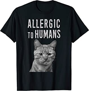 Allergic To Humans Cat Funny Tshirt