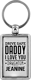 Father's Day Gifts Drive Safe Keychain Daddy I Love You Daughter Jeanine Key chain Gifts for Husband Dad I Love You Gifts Birthday Gifts Key Ring Dog Tag Jewelry Gift Stainless Steel