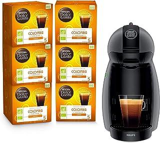 Krups Nescafé Dolce Gusto Piccolo antracita y 6 cajas de café ecológicas Colombia - Cafetera de cápsulas multiusos, Máquin...