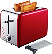 Bonsenkitchen 2 Slice Red Toaster, Extra Wide Slot 5.5''*1.4'' for..