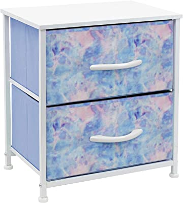 Sorbus Nightstand with 2 Drawers - Bedside Furniture & Accent End Table Chest for Home, Bedroom, Office, College Dorm, Steel Frame, Wood Top, Easy Pull Fabric Bins (2-Drawer, Pastel Tie-dye)