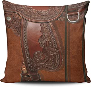 Fanaing Brown Western Leather Look Saddle Tackle Pillowcase Home Sofa Decorative 16x16 Inch Square Throw Pillow Case Decor Cushion Covers Double-Sided Printed