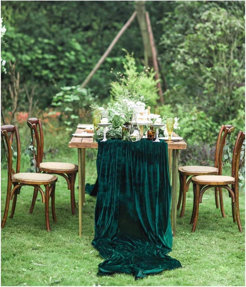 SoarDream Wedding Decorations 29x 120 inch Green Table Runner Cotton Table Runner Emerald Velvet Fabric Table Overlay Wedding Table Runners for ...