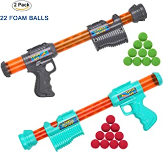 FUNEW 2Pack Power Popper Gun, Fighting Grey and Sky Blue. 22 Foam Balls, Including Green and red Ones,Best Gift for Children, Perfect for Indoor/Outdoor Role Playing Games or Children's Parties.