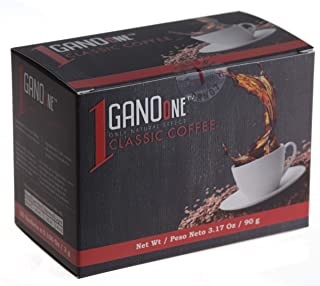 GanoOne Instant Black Coffee with Ganoderma - Reishi Mushroom Extract Breakfast Blend Sugar - Free 30 Single Serve Sachets...