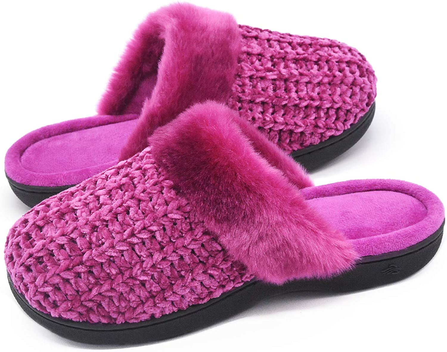 Zigzagger Women's Cute Memory Foam Slippers Indoor Outdoor Comfy Fuzzy Knitted Slip On House shoes