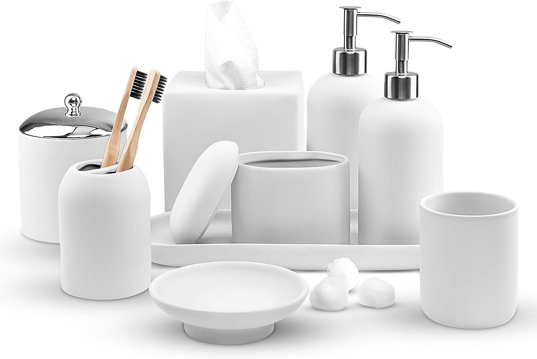 Real Simple Bathroom Accessories Set | Complete 9 Piece Bathroom