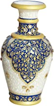 Handicrafts Paradise Marble Kuppi Flower Vase (Blue,Standard)