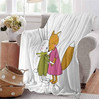 Summer Comforter Blanket Fox and Hare Friendly Forest Wildlife Characters Hugging Each Other Pink Amber Olive Green Bedroom Dorm Sofa Baby Cot Beach W54 xL84