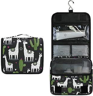 AUUXVA Travel Hanging Toiletry Bag Cute Cactus Llama Portable Cosmetic Makeup Bag Case Organizer Wash Gargle Bag Waterproo...